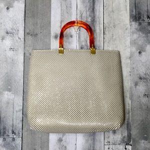 Vintage metal mesh handbag Ivory Faux Tortoise